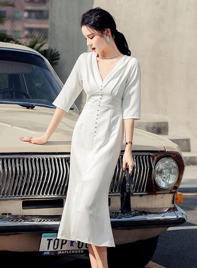 Geraldine White Dress - One Chic Store