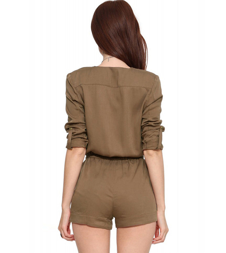 Denise Sleeved Romper - One Chic Store