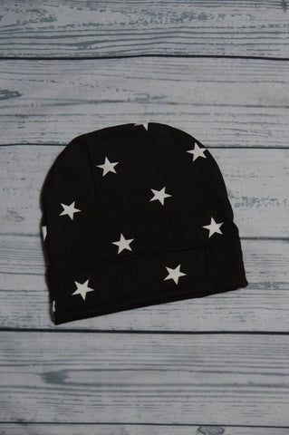 Beanie - Black and White Stars 6-24m