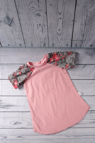 Tunic Dress - Dusty Rose and Grey Floral Sleeve