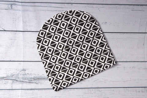 Beanie - Black and white Geo Child-Adult