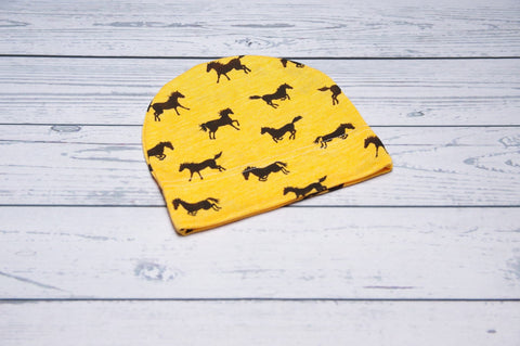 Beanie - Yellow Mustangs 6-24m