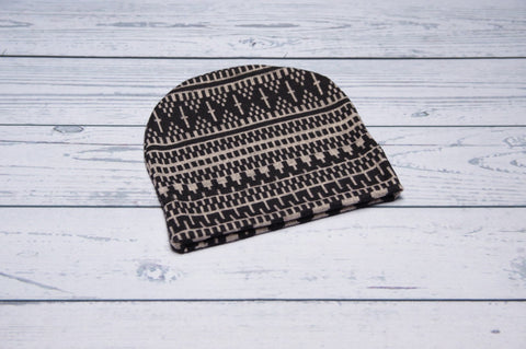 Slouchy Beanie -Brown Tribal