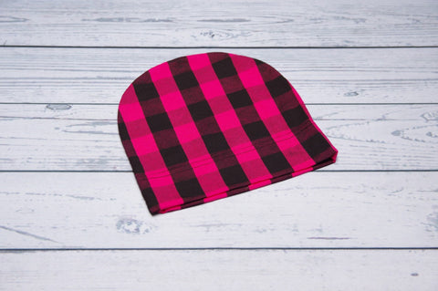 Beanie - Pink Plaid Child-Adult