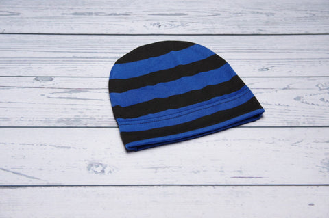 Slouchy Beanie - Black and Blue Stripe