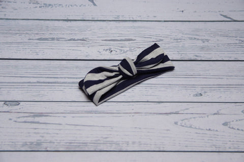Top Knot - Navy Stripe