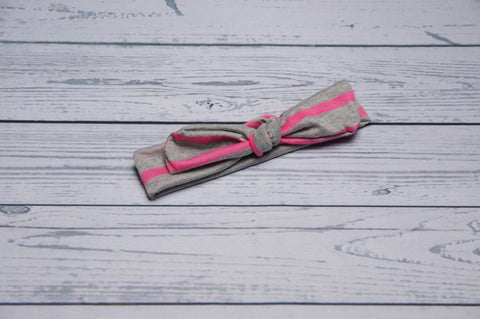 Top Knot - Pink and Grey Stripe