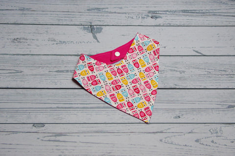 Bandana Bib - Pink Owls {Slightly flawed}