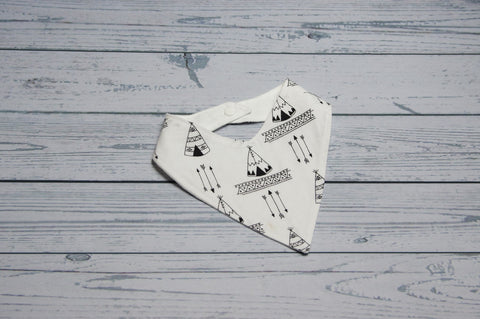 Bandana Bib - Black and White Teepee