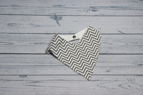 Bandana Bib - Grey Chevron {Slightly Flawed}