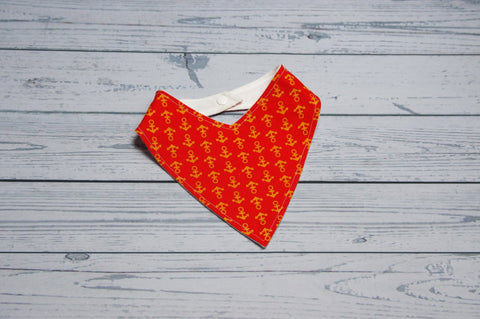 Bandana Bib - Orange Anchors