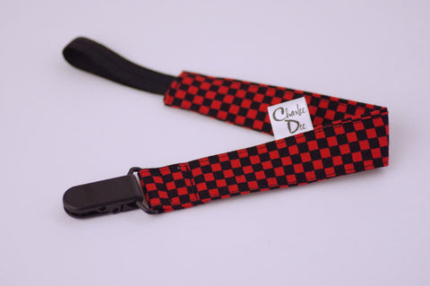 Soother Strap - Black/Red Check