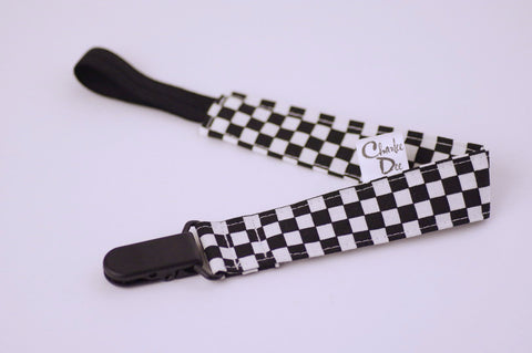Soother Strap - Black/White Check