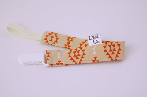 Soother Strap - Orange Geometric