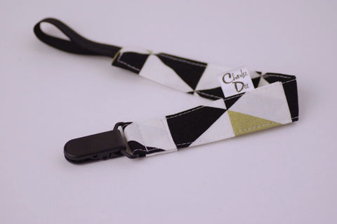 Soother Strap - Black/White/Gold Triangles