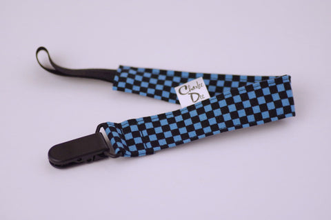Soother Strap - Blue/Black Check