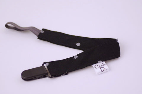 Soother Strap - Black/Silver Polka dot