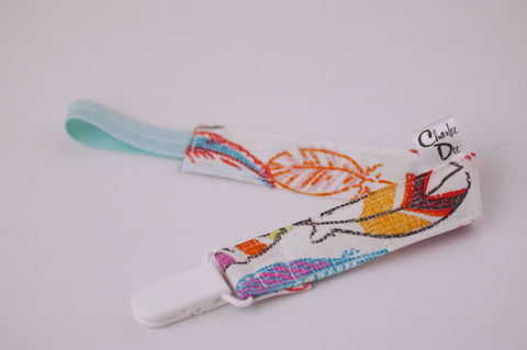 Soother Strap - Multi Colored Feathers