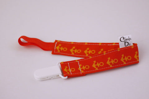 Soother Strap - Orange Anchors