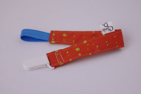 Soother Strap - Pink and Green Dots