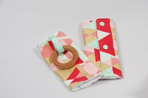Carrier Strap Cover - Coral/Gold/Mint Geometric