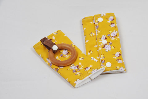 Carrier Strap Cover - Mustard Floral