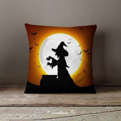 Scary Witch Halloween Throw Pillow-W.FRANCIS