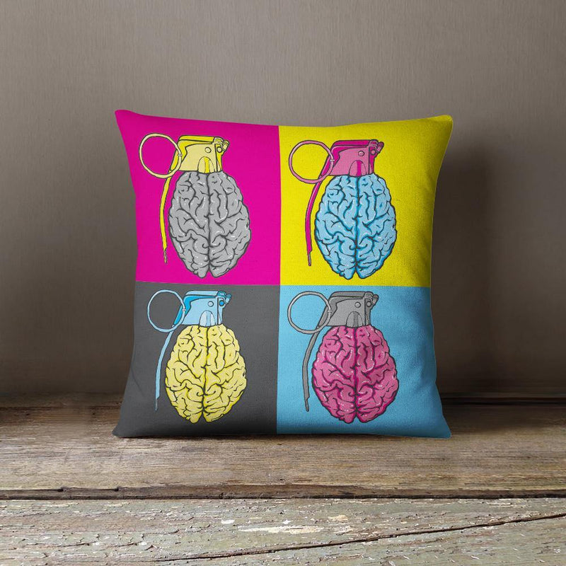 Brain Grenade Throw Pillow-W.FRANCIS
