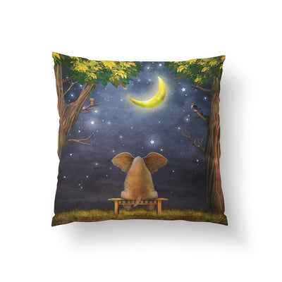 Elephant and Moon Nursery Throw Pillow-W.FRANCIS