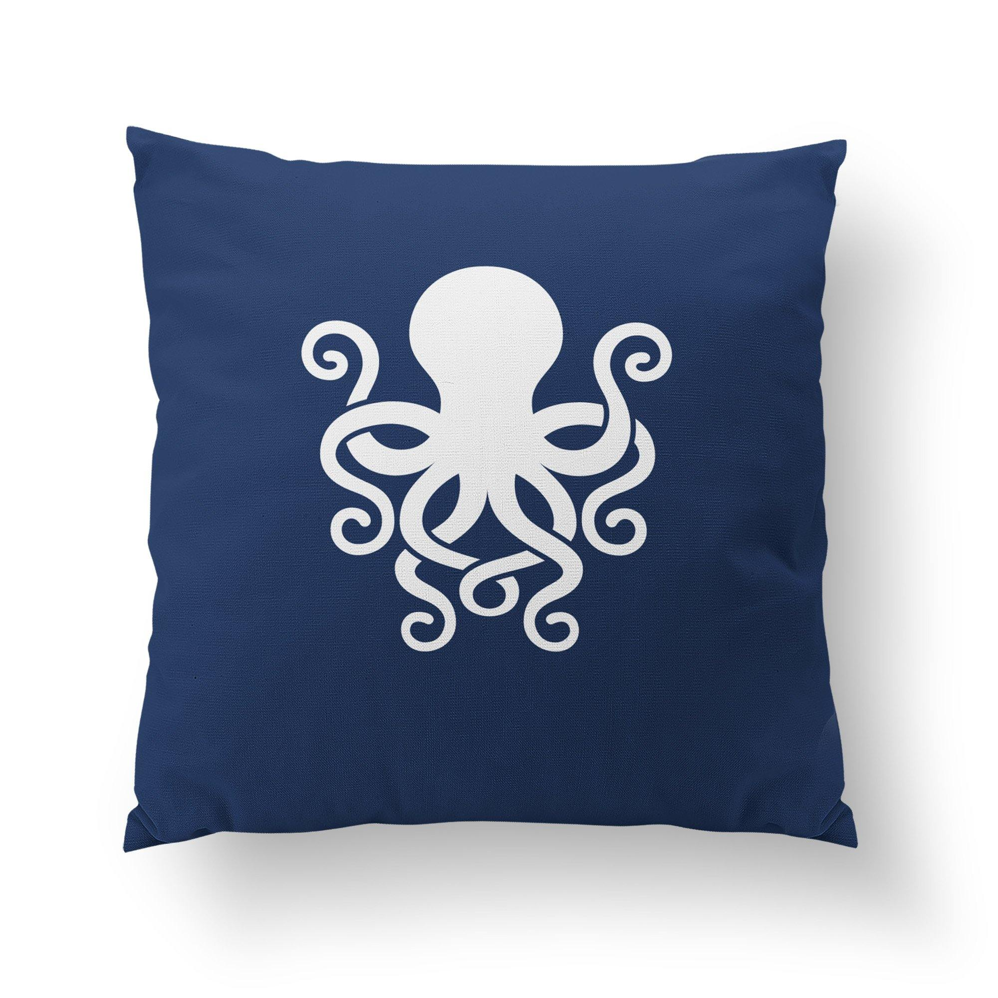 Navy Octopus Throw Pillow-W.FRANCIS