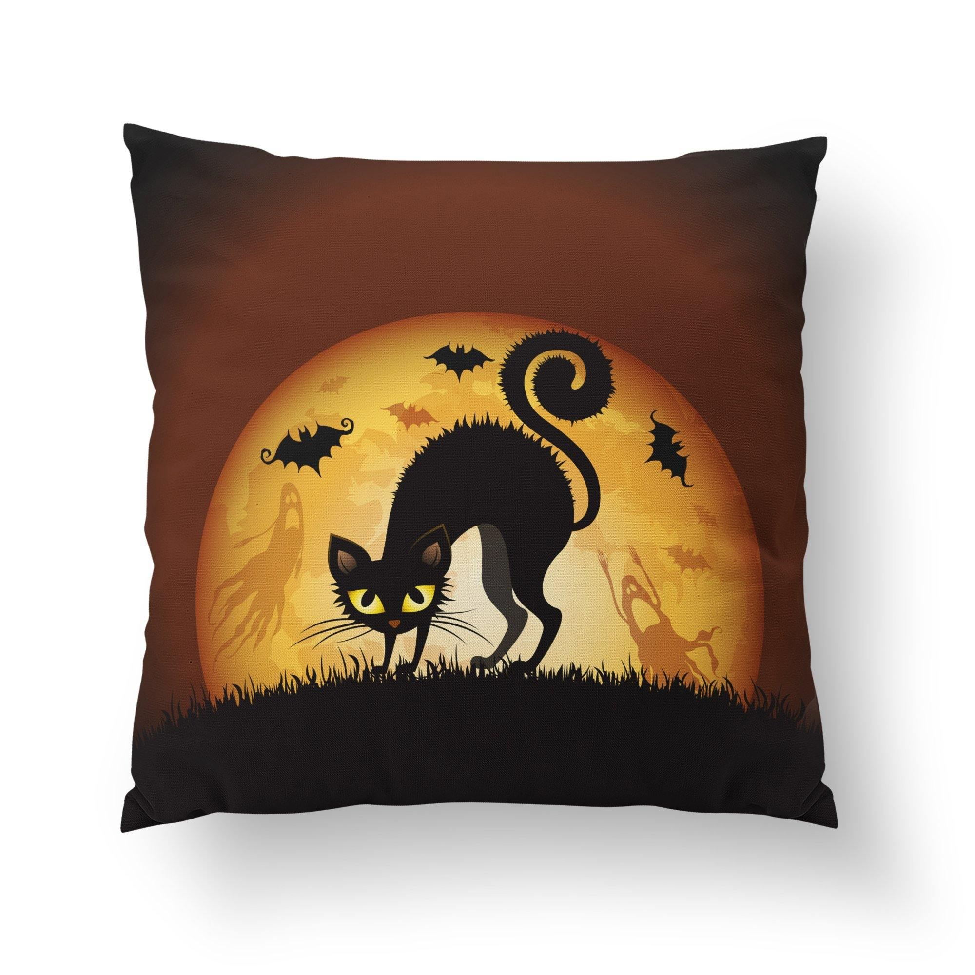 Scary Cat Halloween Decorative Pillow