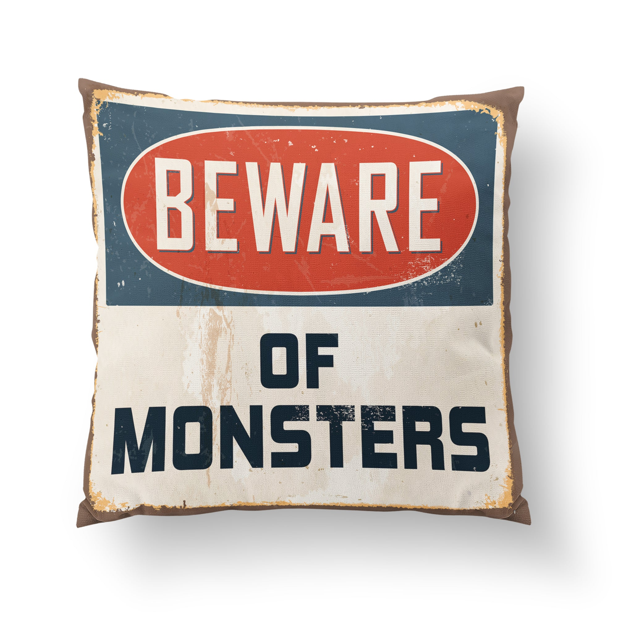 Monster Beware Throw Pillow-W.FRANCIS