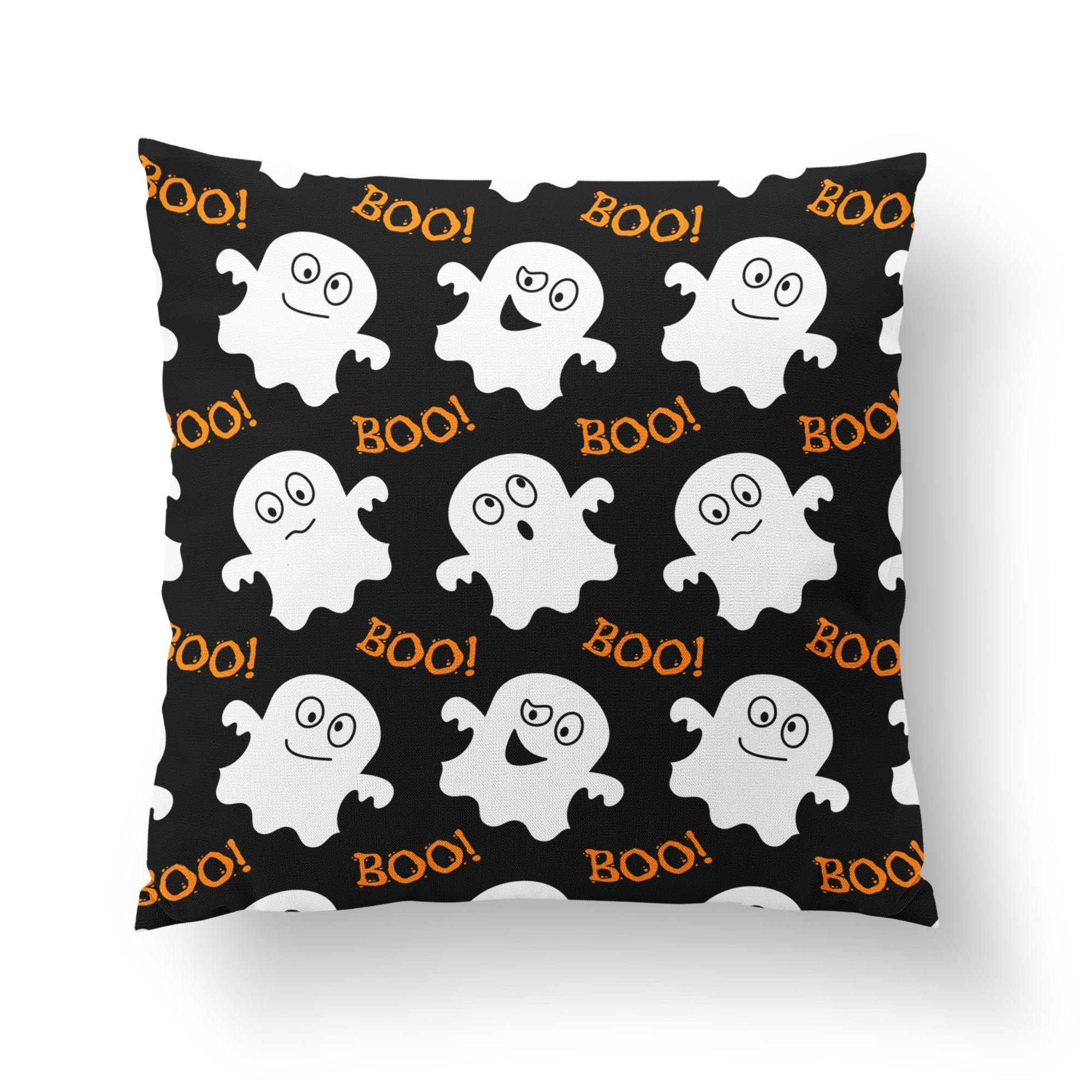 Happy Ghost Throw Pillow-W.FRANCIS