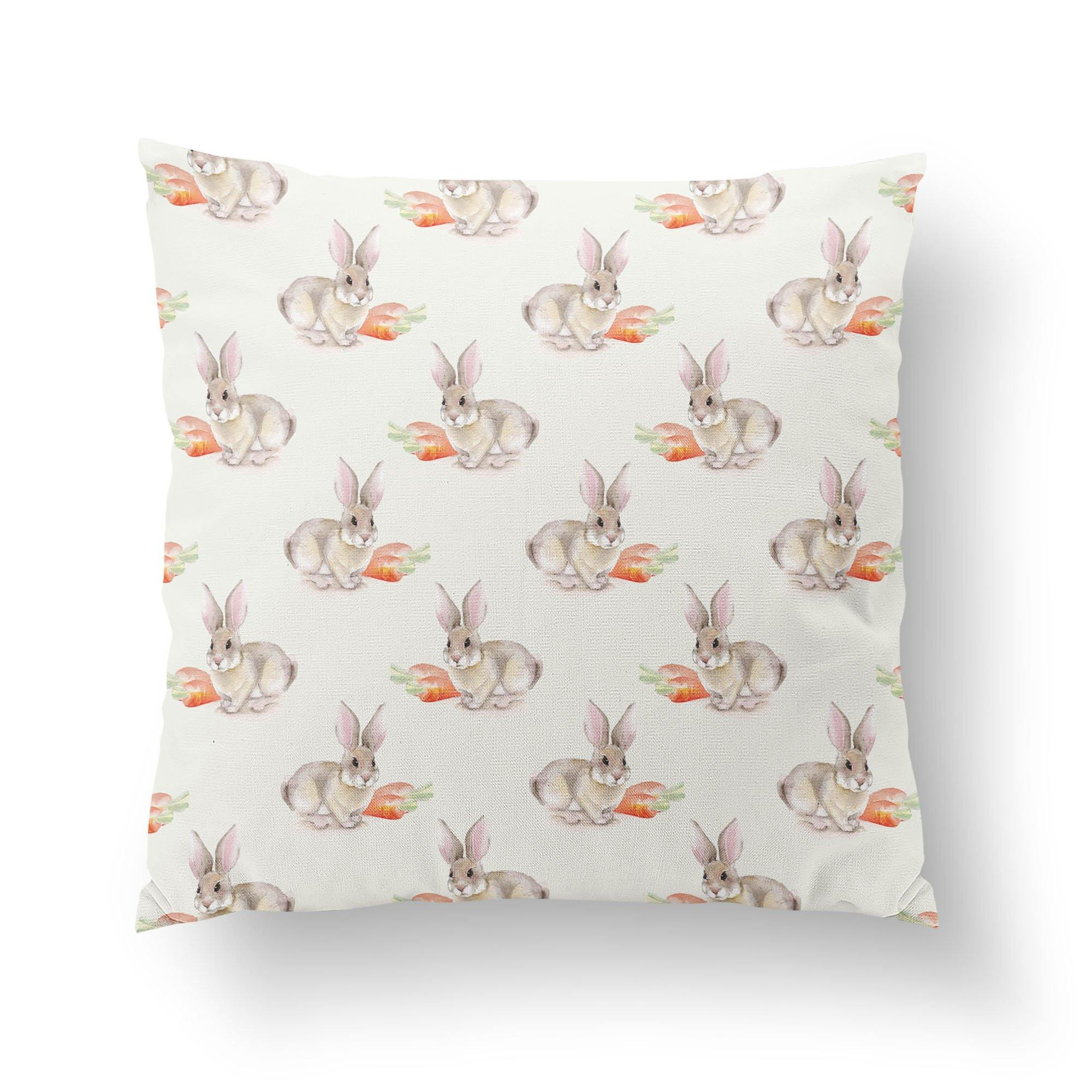 Watercolor Easter Bunny Throw Pillow-W.FRANCIS