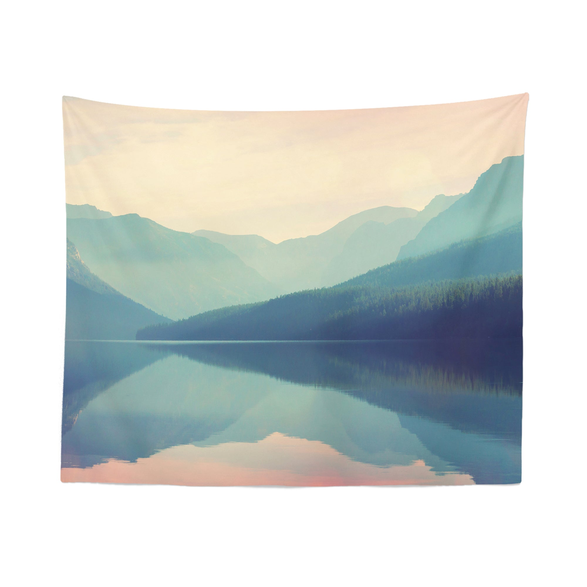 Misty Lake Wall Tapestry