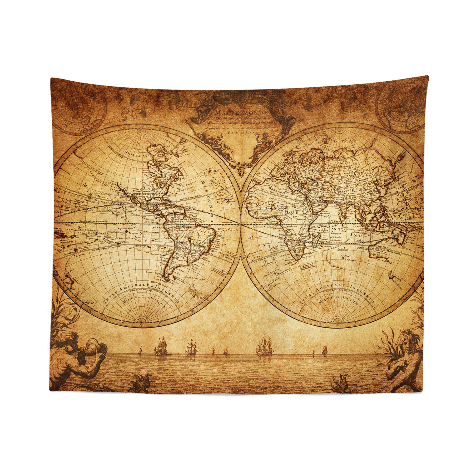Vintage World Map Wall Tapestry