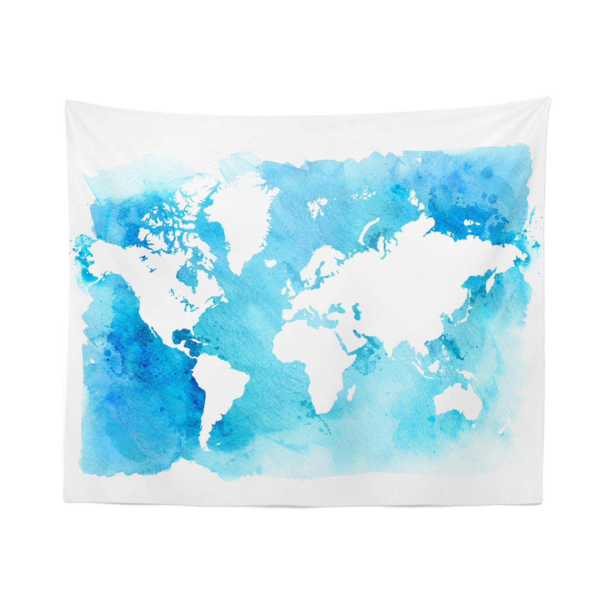 Blue Watercolor World Map Tapestry