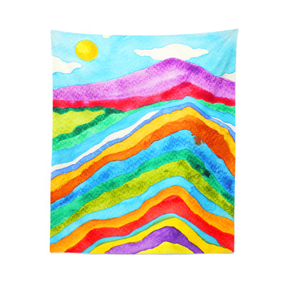 Colorful Watercolor Mountain Tapestry