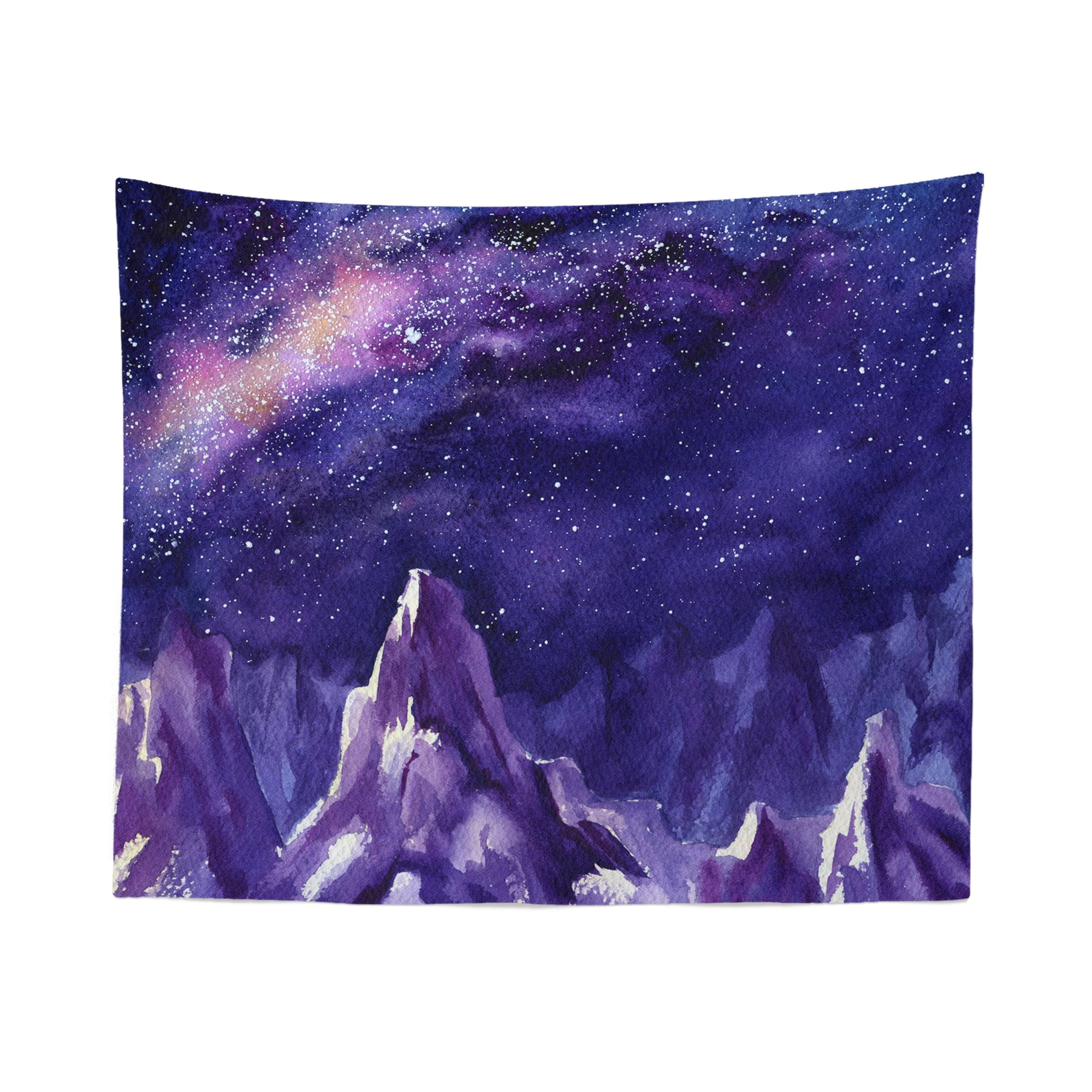 Watercolor Mountain Night Sky Tapestry