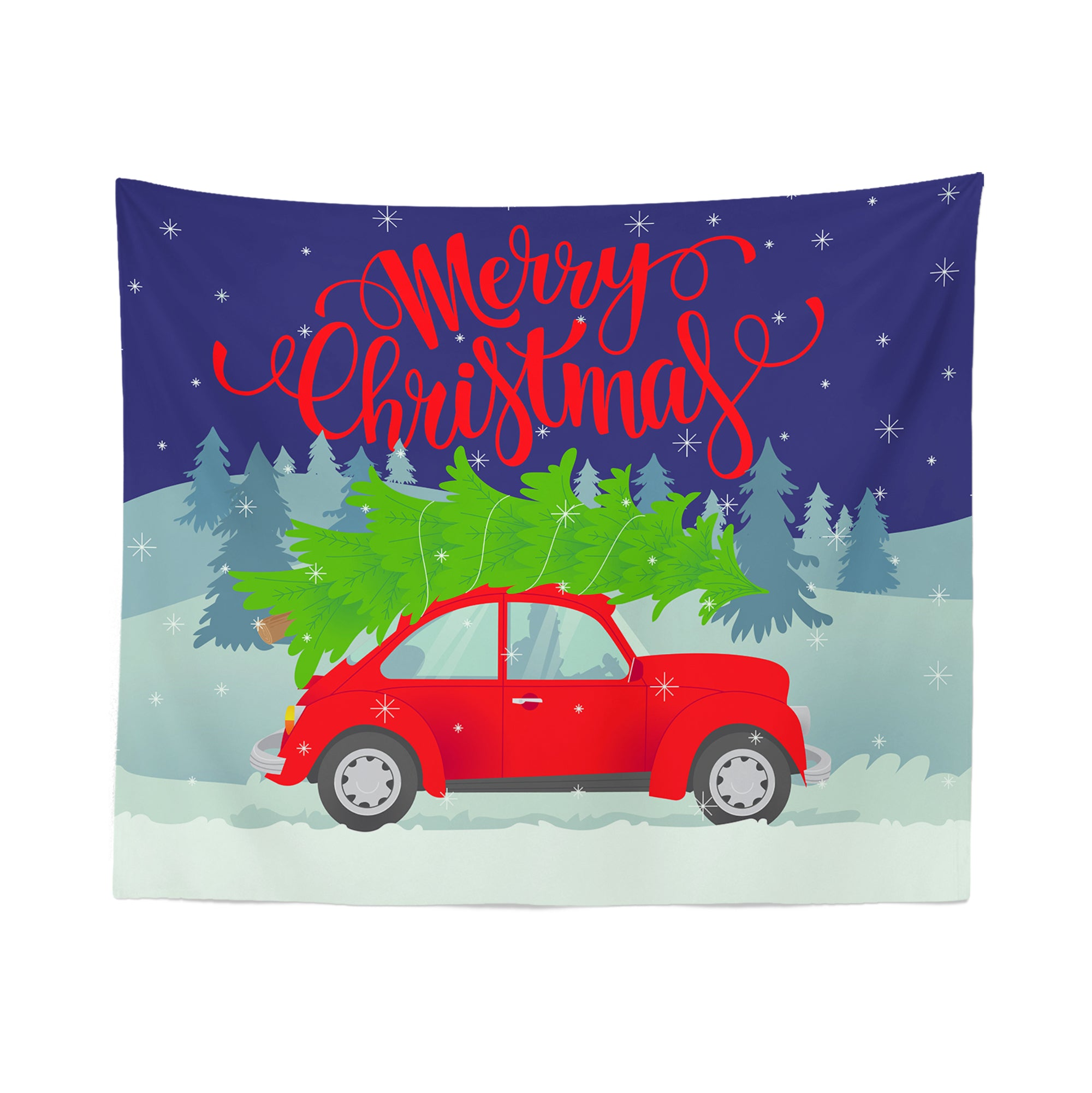 Christmas Car Wall Tapestry