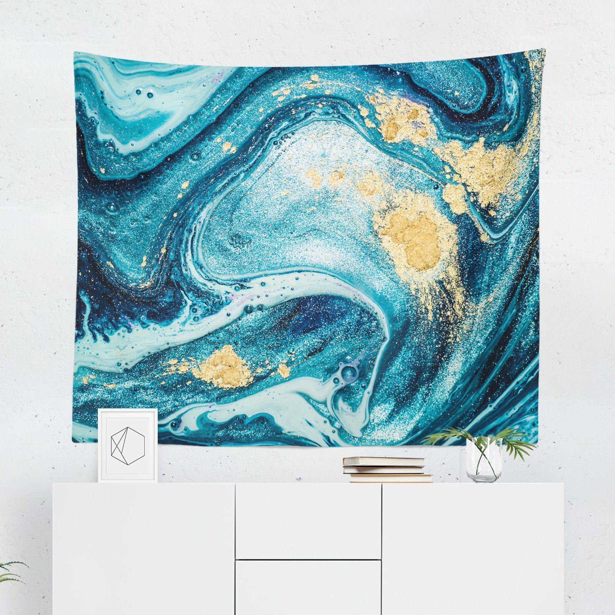 Aqua Gold Marble Tapestry-W.FRANCIS