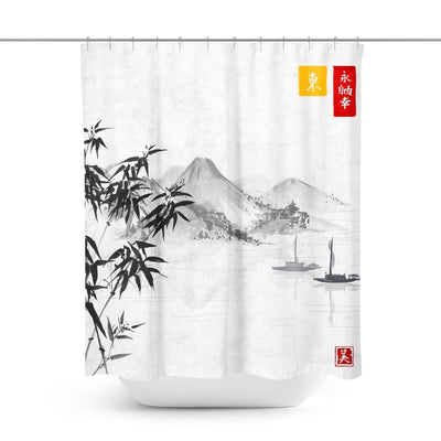 Asian Landscape Shower Curtain-W.FRANCIS