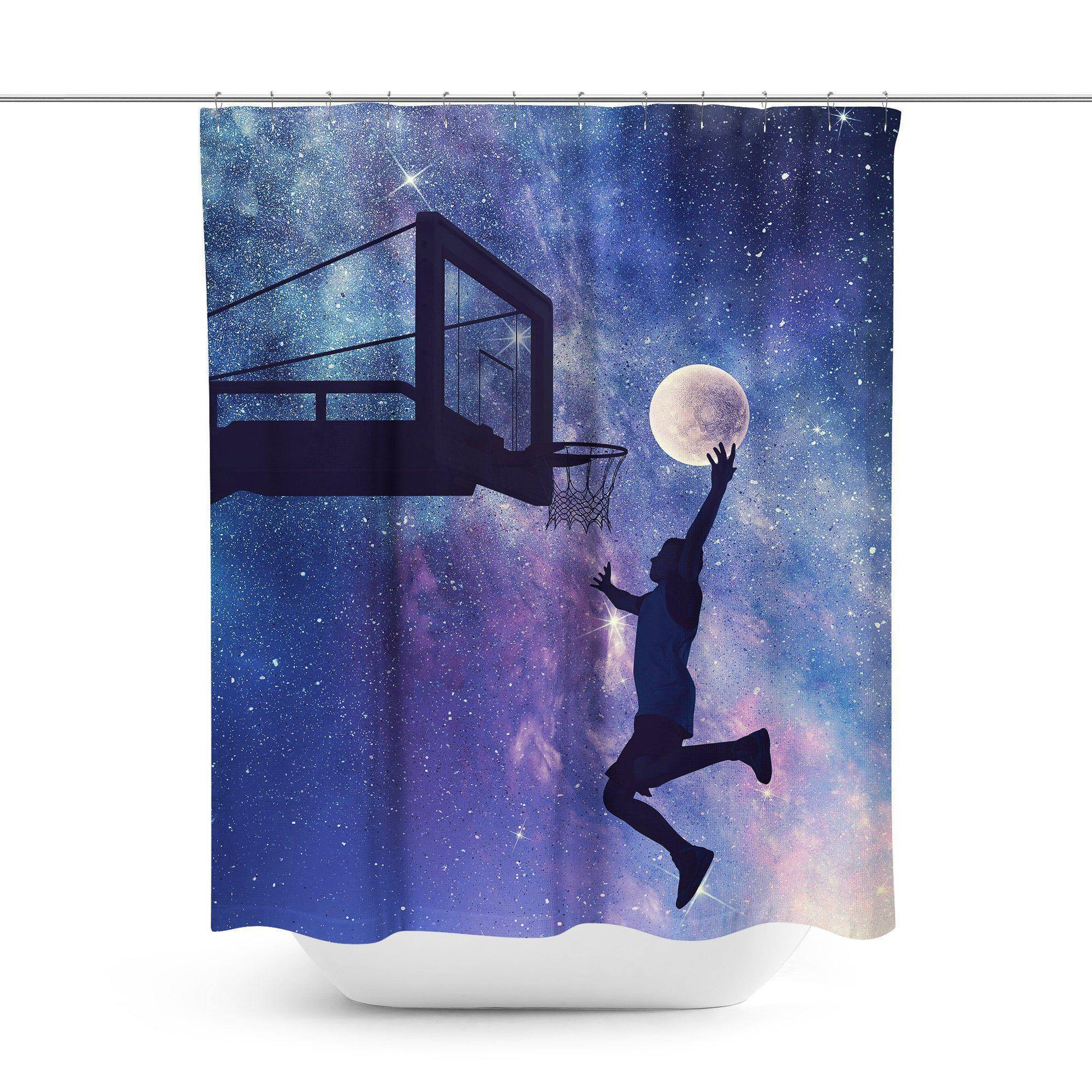 Basketball Space Shower Curtain-W.FRANCIS