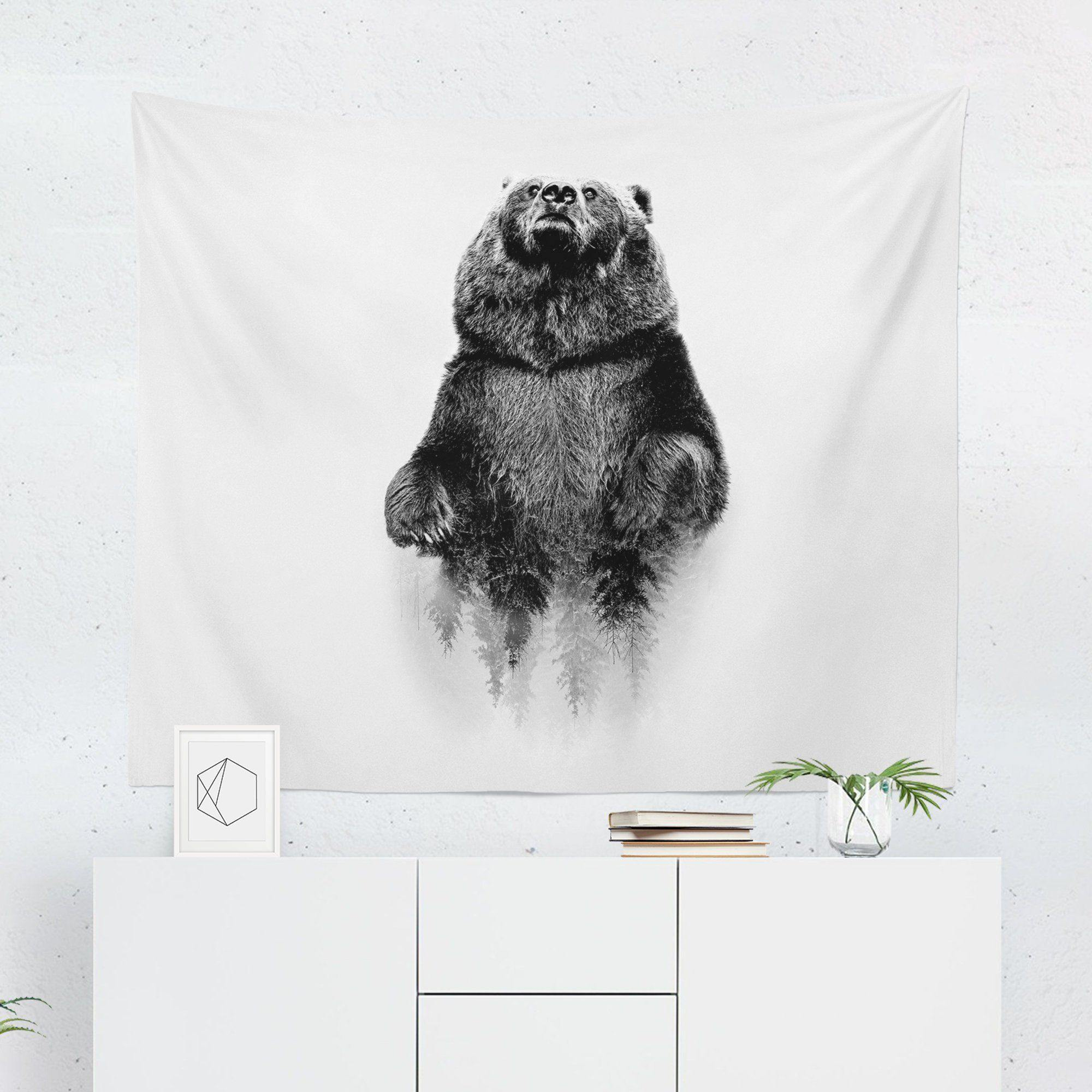 "Bear ""Black & White Grizzly"" Tapestry-W.FRANCIS"