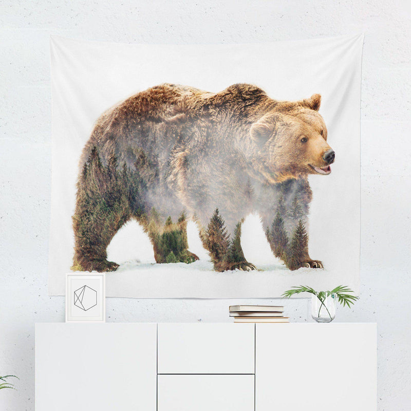 "Bear ""Forest Double Exposure"" Tapestry-W.FRANCIS"