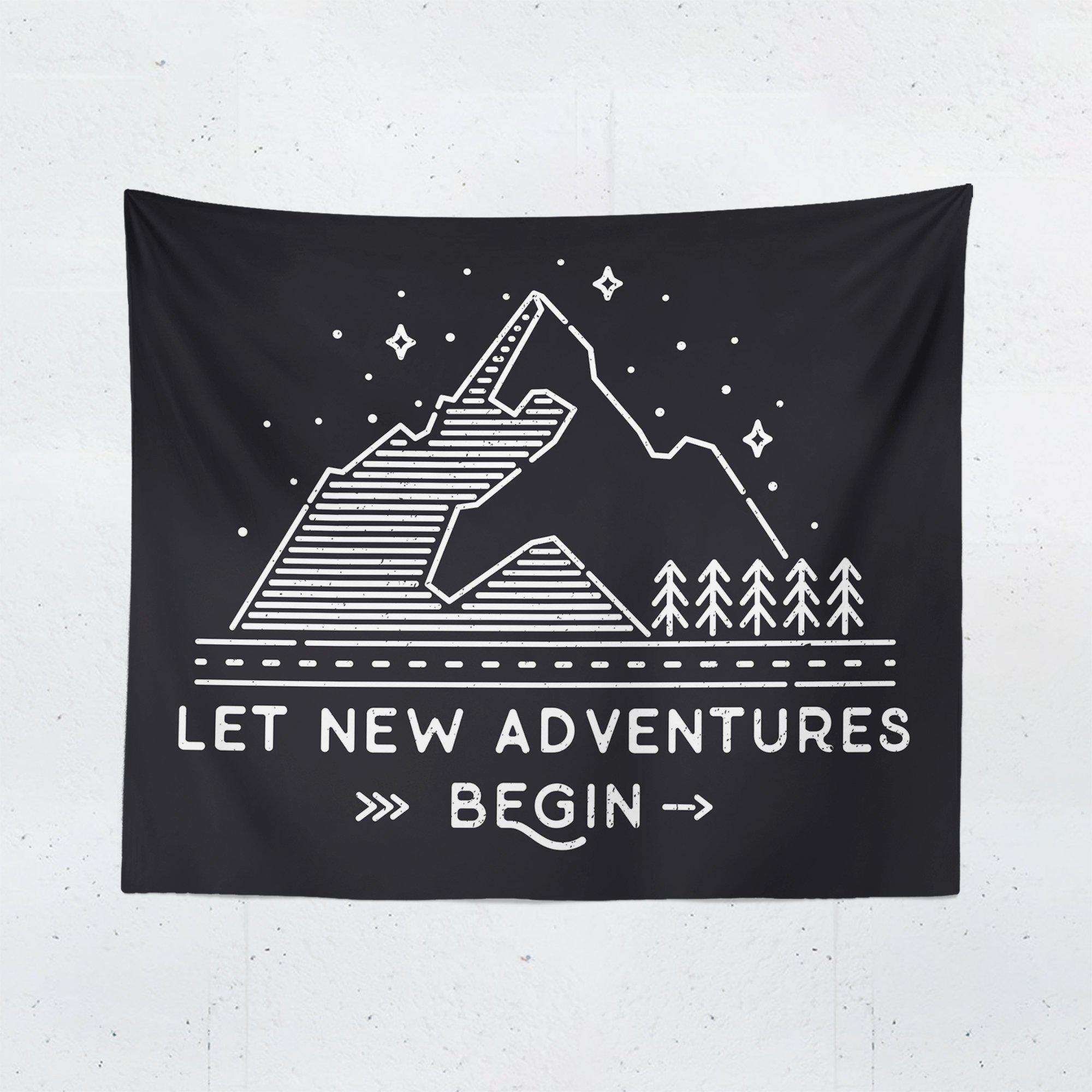 "Black Adventure ""Let New Adventures Begin"" Quote Tapestry-W.FRANCIS"