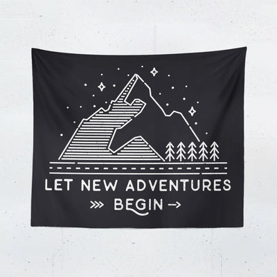 "Black Adventure ""Let New Adventures Begin"" Quote Tapestry - Tapestries - W.FRANCIS"