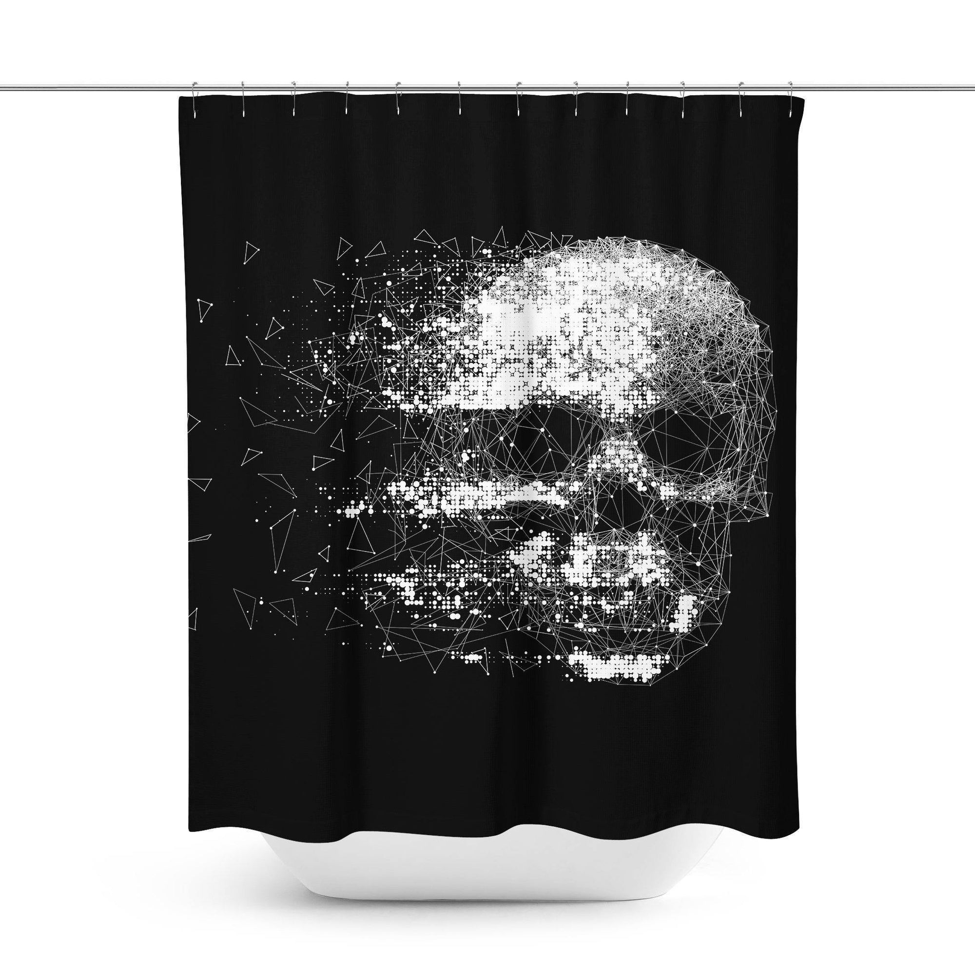 Black Skull Shower Curtain-W.FRANCIS