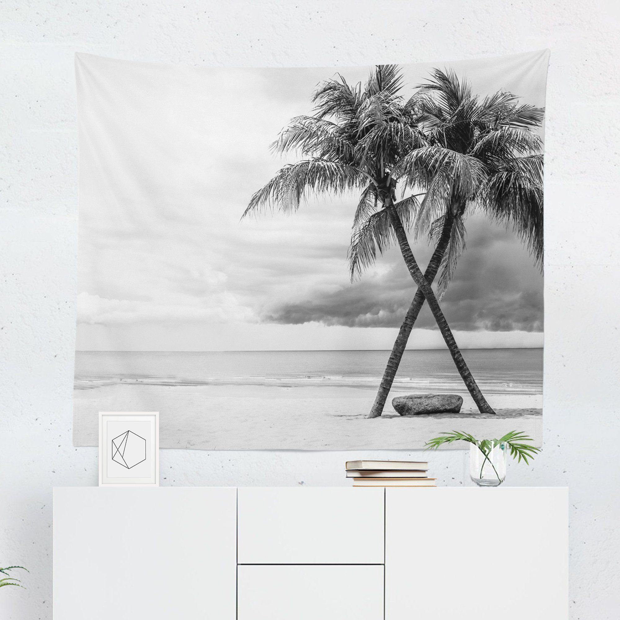 Black & White Tropical Tapestry-W.FRANCIS
