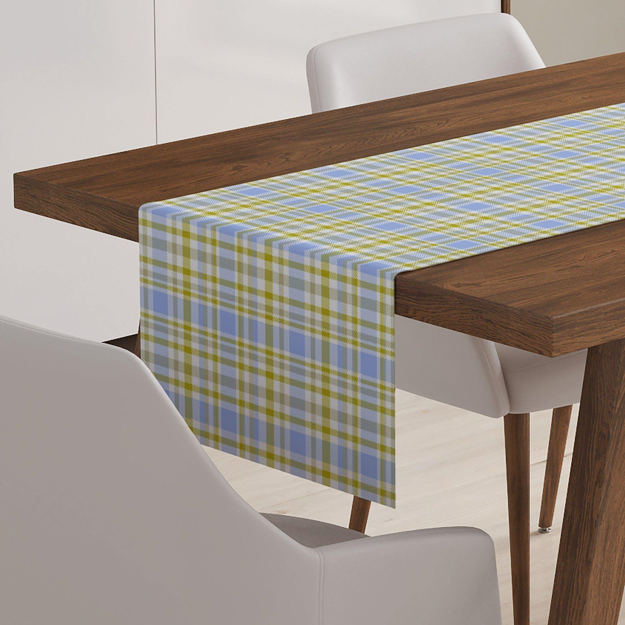 Blue and Green Plaid Table Runner-W.FRANCIS
